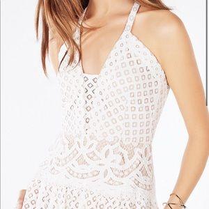 BCBG White Floral Lace Gown (grad/ bridesmaid)